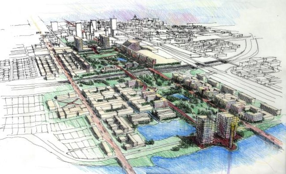 Photo -  An artist's rendering of downtown during pre-MAPS 3 planning for Core To Shore showed a park stretching from Myriad Gardens south to the Oklahoma River.   Provided by Core to Shore Steering Committee.