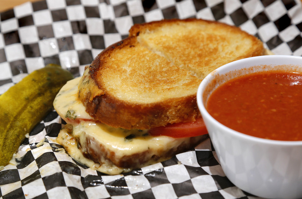 Photo -  T's Grilled Cheese with a cup of Basque Tomato Soup at Scottie's Deli in Oklahoma City's Uptown 23rd district. [Photo by Jim Beckel, The Oklahoman]