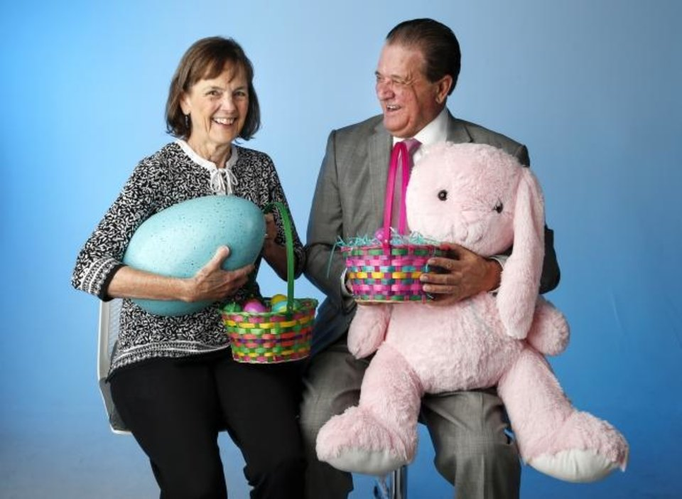 Photo -  Shirley O'Reilly McGuire and Bob McLauchlin pose for a photo with Easter baskets, eggs and a stuffed bunny rabbit, recreating a pose they held 62 years ago when their birthdays last fell on Easter Sunday. [Nate Billings/The Oklahoman]