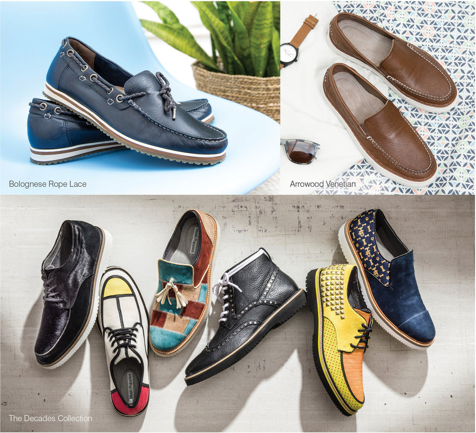 Photo - Hush Puppies for men: Bolognese Rope Lace ($104.95, top left); Arrowood Venetian ($109.95, top right). The Decades collection (bottom left to right) Bernard 58 Oxford ($224.95); Bernard 60's Oxford ($224.95); Bernard 70's Slip-on ($199.95); Bernard 90's Chukka ($249.95); Bernard 80's Oxford ($249.95); Bernard 2000 Slip-on ($199.95). (PRNewsfoto/Hush Puppies)