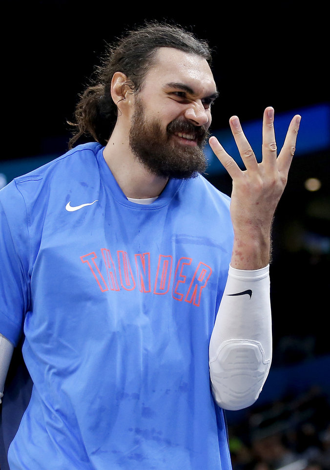 Photo - Oklahoma City's Steven Adams (12) cheers on the bench during the NBA preseason game between the Oklahoma City Thunder and the New Zealand Breakers at the Chesapeake Energy , Thursday, Oct. 10, 2019. [Sarah Phipps/The Oklahoman]