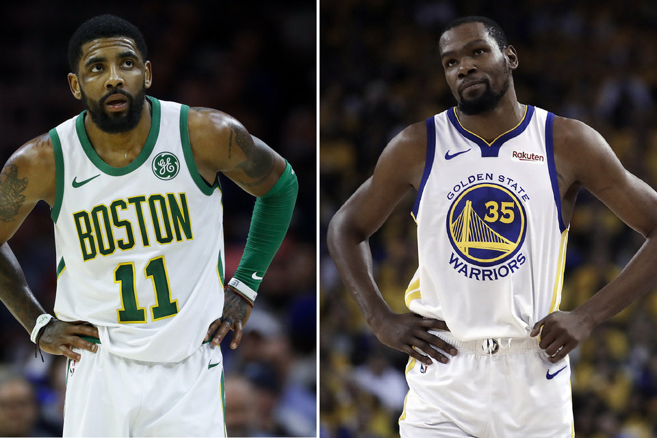 Photo - FILE - At left, in a March 20, 2019, file photo, Boston Celtics' Kyrie Irving is shown during an NBA basketball game against the Philadelphia 76ers in Philadelphia. At right, in a May 8, 2019, file photo,  Golden State Warriors' Kevin Durant is shown during the first half of Game 5 of the team's second-round NBA basketball playoff series against the Houston Rockets in Oakland, Calif. Just three seasons ago, the Brooklyn Nets were the worst team in the NBA. On Sunday, June 30, they were the story of the league. They agreed to deals with superstars Kevin Durant and Kyrie Irving as part of a sensational start to free agency, giving the longtime No. 2 team in New York top billing in the Big Apple. (AP Photo/File)