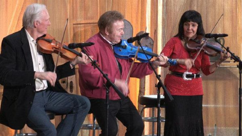 Photo - From left, renowned Oklahoma fiddler Byron Berline, former