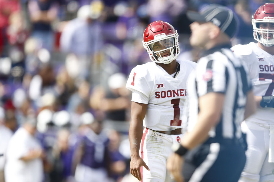 eb035ab39 Oklahoma Sooners quarterback Kyler Murray (1) reacts after a penalty is  called during the