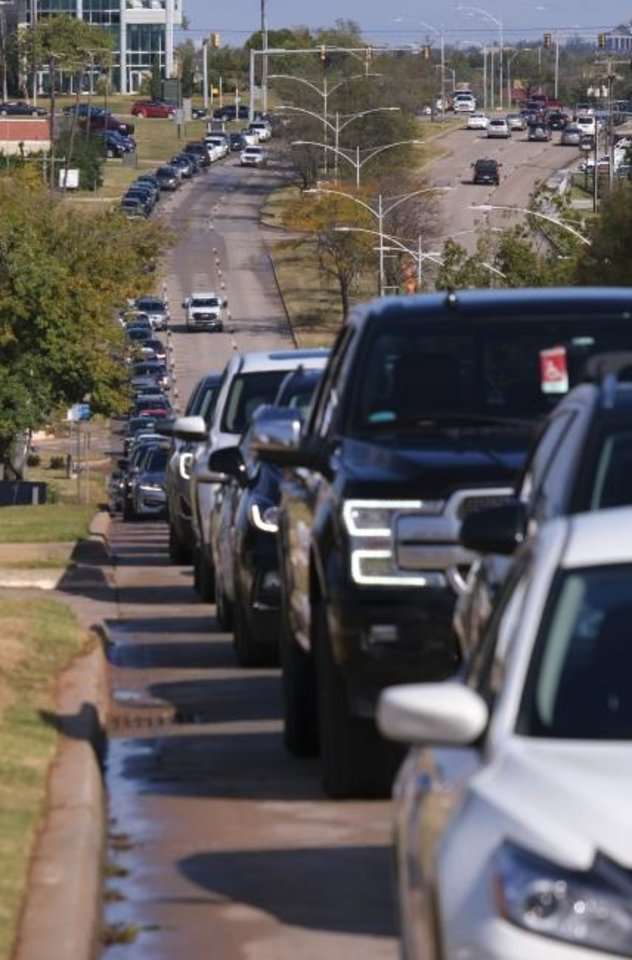 Photo -  Line of cars on Lincoln Blvd to turn into theElection Board went to I-44. Early voting for Oklahoma County at the OK County Election Board, 4201 N. Lincoln Blvd, Thursday, October 29, 2020. [Doug Hoke/The Oklahoman]