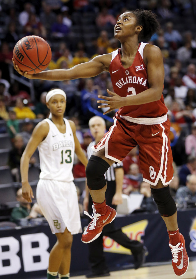 Photo - Oklahoma's T'ona Edwards (2) shoots during a semifinal game in the Big 12 Women's Basketball Championship between the Oklahoma Sooners (OU) and the Baylor Lady Bears at Chesapeake Energy Arena in Oklahoma City, Sunday, March 6, 2016. Photo by Nate Billings, The Oklahoman