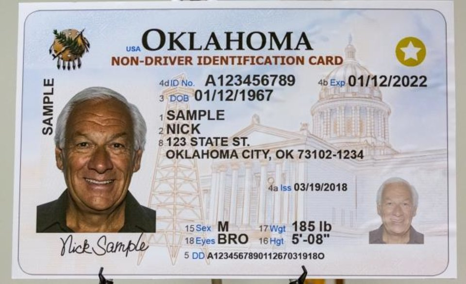Photo -  An example of the REAL ID during a press conference on the Oklahoma's REAL ID advances at Will Rogers World Airport in Oklahoma City, Okla. on Wednesday, Nov. 6, 2019.   [Chris Landsberger/The Oklahoman]