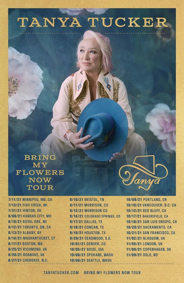 "Photo - Two-time Grammy Award winner Tanya Tucker has rescheduled her 2020 tour dates, including stops for her headlining ""CMT Next Women of Country: Bring My Flowers Now Tour,"" that were postponed due to the coronavirus pandemic. [Poster image provided]"