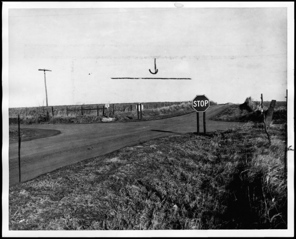 """Photo - Photograph used for a story in the Oklahoma Times newspaper. Caption: """"This is N Pennsylvania and Memorial road, looking north, where three persons died Christmas night."""""""