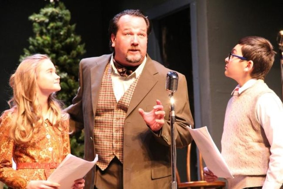"Photo -  Ruth Daigle, Timothy Stewart and Austin Barber appear in the 2018 production of ""It's a Wonderful Life: A Live Radio Play"" at Guthrie's Pollard Theatre. [Jennifer Jones]"
