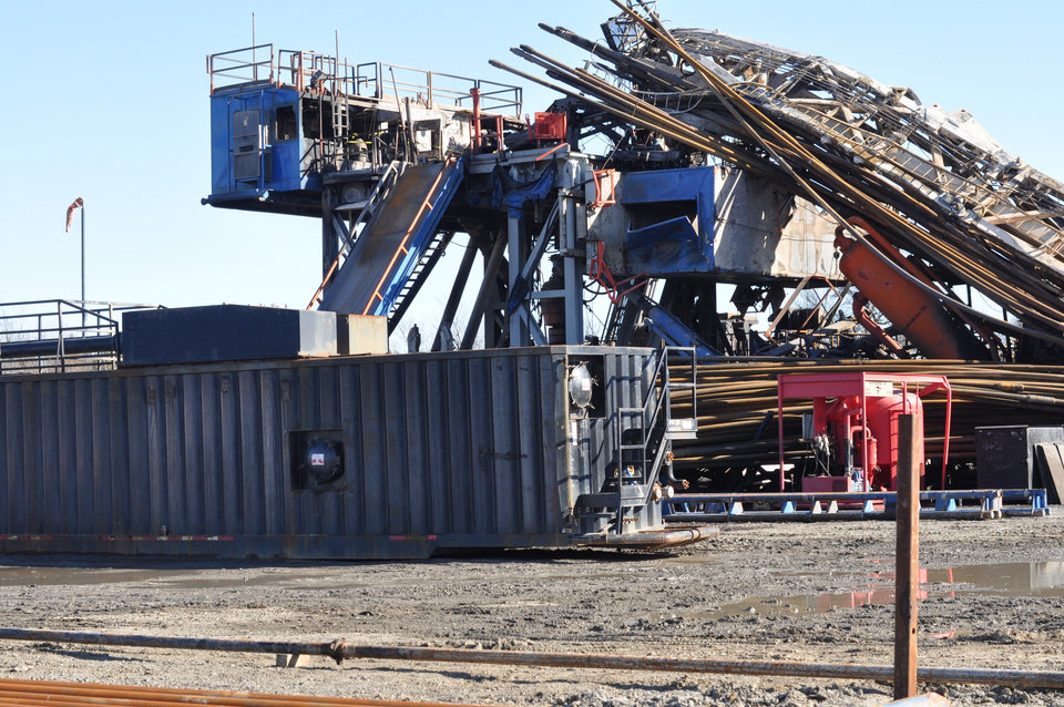 Photo -  This photo shows the Patterson-UTI rig at the Pryor Trust 0718 1H-9 after it had been consumed by an explosion and fire caused by a well blowout. [Photo provided by the U.S. Chemical Safety and Hazard Investigation Board]