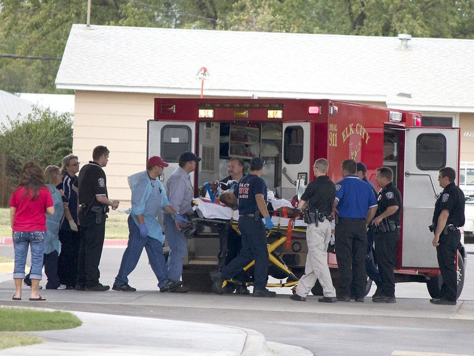 Photo - PRISON RIOT: Injured prisoners arrive at Great Plains Regional Medical Center in Elk City on Tuesday afternoon. Reports of injuries continue to filter in as officials work to control a large-scale riot at North Fork Correctional Facility in Sayre. (Photo by Derek Brown, Daily Elk Citian) ORG XMIT: kod