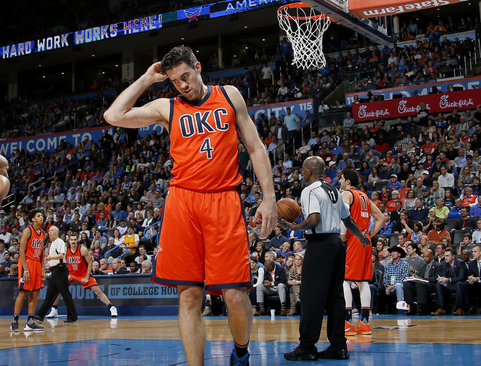 Photo - Oklahoma City's Nick Collison (4) walks away after a foul during an NBA basketball game between the Oklahoma City Thunder and the Cleveland Cavaliers at Chesapeake Energy Arena in Oklahoma City, Sunday, Feb. 21, 2016. Oklahoma City lost 115-92.  Photo by Bryan Terry, The Oklahoman