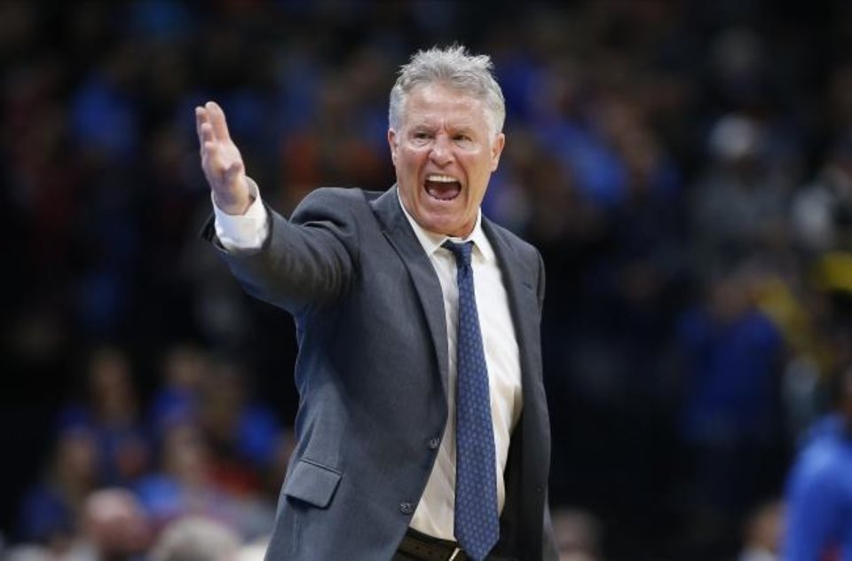 Photo -  Brett Brown led the 76ers to a 146-91 (.616) record in the past three seasons, but Philadelphia failed to advance to the Eastern Conference finals. [Alonzo Adams/USA TODAY Sports]