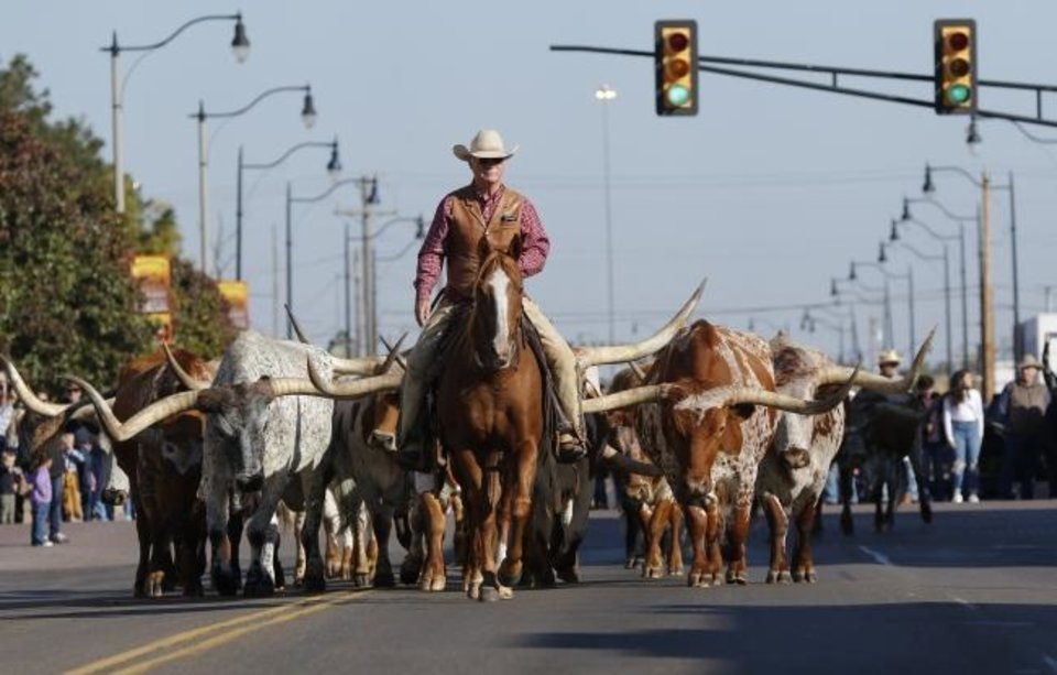 Photo -  Longhorn walk south on Agnew during the Stockyards Stampede Saturday. Coinciding with the event was the opening of the Museum of Horseshoeing. [Doug Hoke/The Oklahoman]