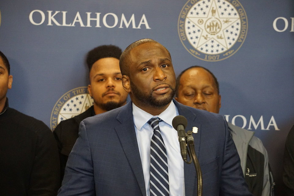 Photo -  State Rep. Jason Lowe, D-Oklahoma City, speaks at the state Capitol on Wednesday about the killings of Elijah Mothershed, Carnesha Patrice Powell and Roshawna Stevens. [Photos by Josh Wallace, The Oklahoman]