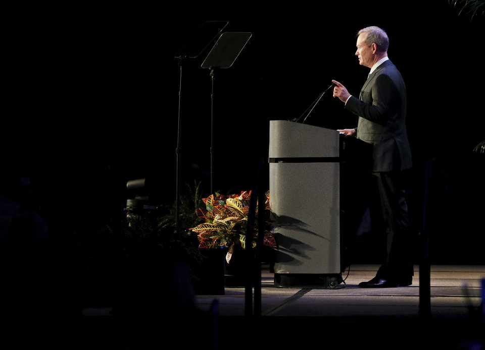 Photo - Mayor Mick Cornett gives the state of the city address during a Greater Oklahoma City Chamber luncheon at the Cox Convention Center in Oklahoma City, Wednesday, Jan. 14, 2015. Photo by Nate Billings, The Oklahoman