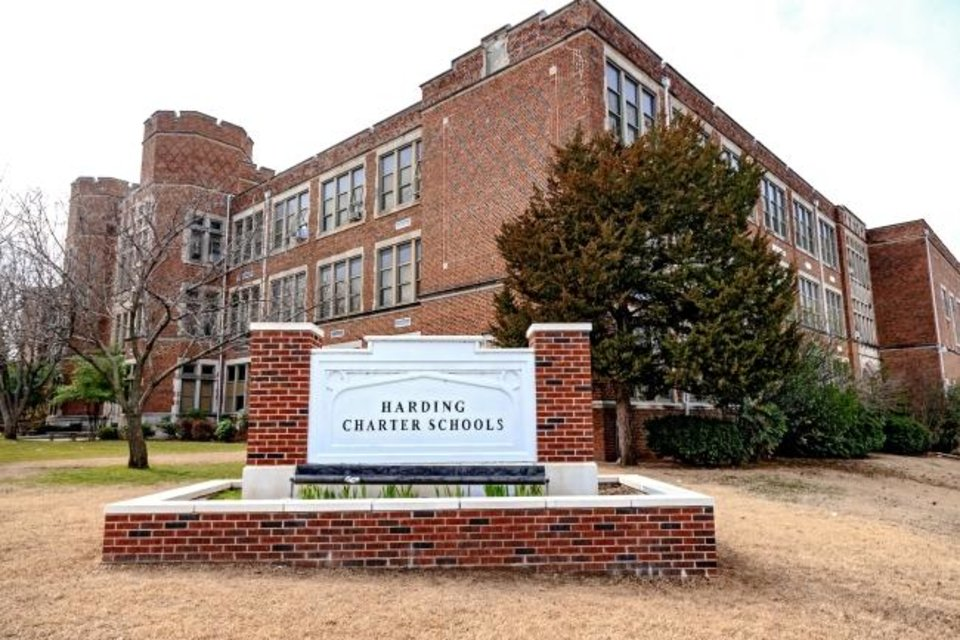 Photo -  The Oklahoma City School Board on Monday night designated the 96-year-old Harding Charter Schools building as surplus. Officials with Harding Fine Arts Academy, one of two schools that occupy the building, are interested in buying it instead of relocating students. [Chris Landsberger/The Oklahoman Archives]