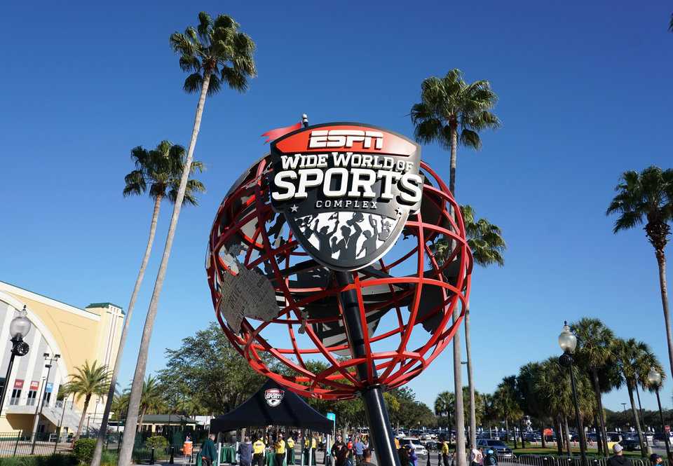 Photo - Jan 25, 2020; Kissimmee, Florida, USA; General overall view of globe at the entrance to  ESPN Wide World of Sports. Mandatory Credit: Kirby Lee-USA TODAY Sports