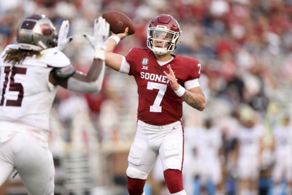 Photo -  Sooners quarterback Spencer Rattler attempts a pass against Missouri State earlier this season. [IAN MAULE/Tulsa World]