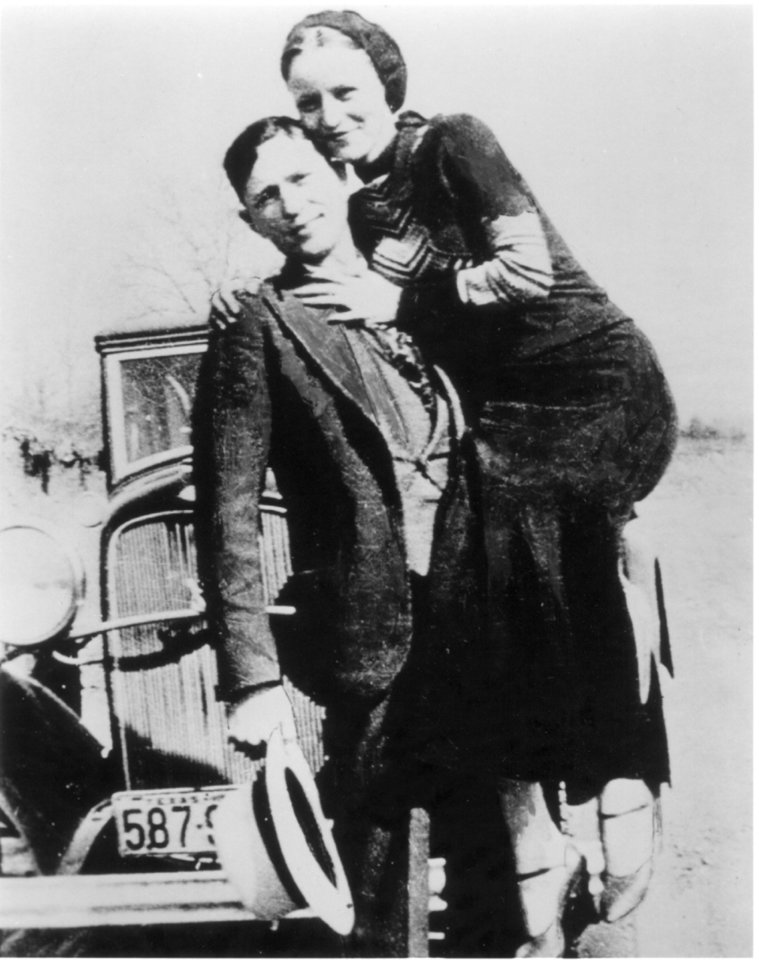 Photo - Legendary criminals Bonnie Parker and Clyde Barrow.  Criminal duo was killed in an ambush set up by law enforcement officers near Arcadia, Louisiana in May of 1934.