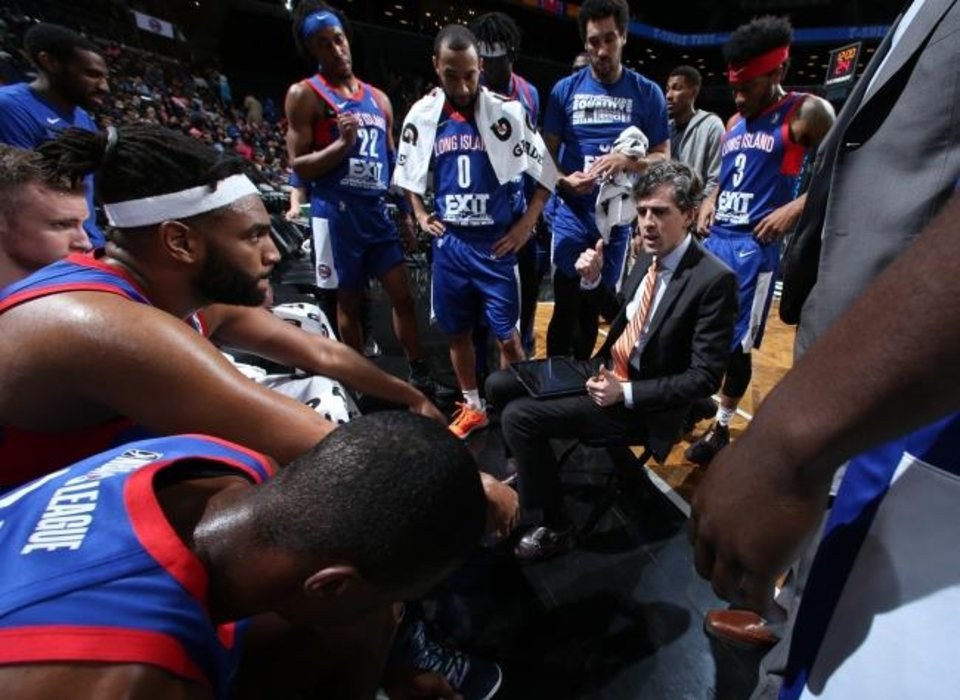 Photo -  Will Weaver was named G League Coach of the Year in 2018-19, his only season with the Long Island Nets. [Photo courtesy of Jen Voce/Long Island Nets]
