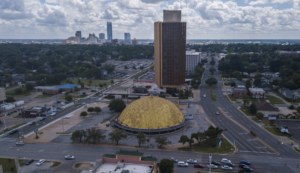 Photo - Drone photo of Gold Dome at NW 23 and Classen/Western in Oklahoma City. [The Oklahoman archives]