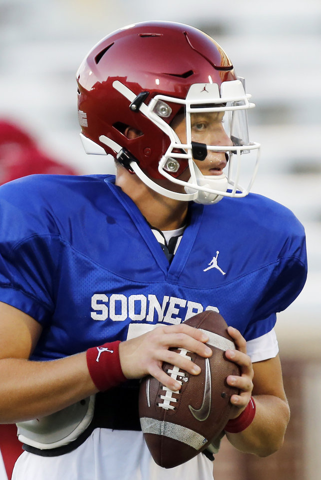 Photo - OU quarterback Spencer Rattler (7) during football practice for the University of Oklahoma Sooners at Gaylord Family - Oklahoma Memorial Stadium in Norman, Okla., Monday, Aug. 12, 2019. [Nate Billings/The Oklahoman]