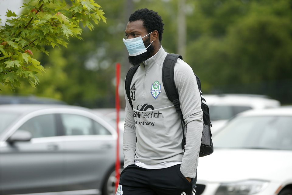 Photo - Omar Owayne Gordon with OKC Energy FC arrives for soccer practice in Oklahoma City, Wednesday, May 13, 2020. [Bryan Terry/The Oklahoman]