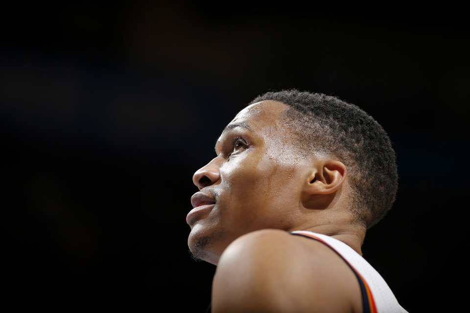 Photo - Oklahoma City's Russell Westbrook (0) during an NBA basketball game between the Oklahoma City Thunder and the Washington Wizards at Chesapeake Energy Arena in Oklahoman City, Wednesday, Nov. 30, 2016. Photo by Bryan Terry, The Oklahoman