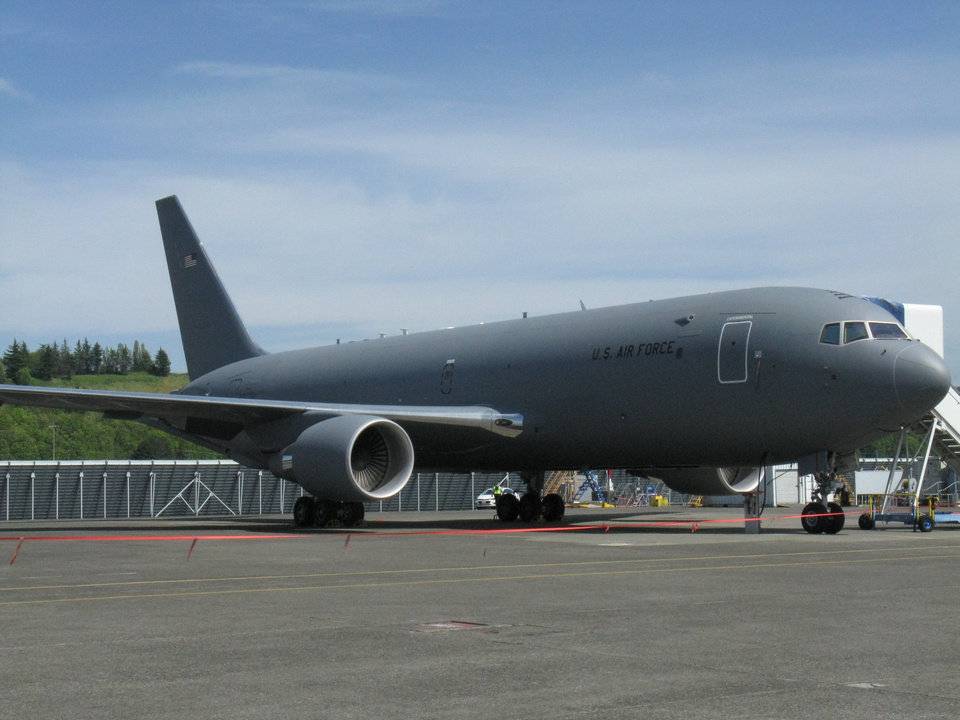 Photo -  A Boeing KC-46A Pegasus test aircraft sits on the apron at Boeing Field in Seattle. [Photo by Jack Money, The Oklahoman]