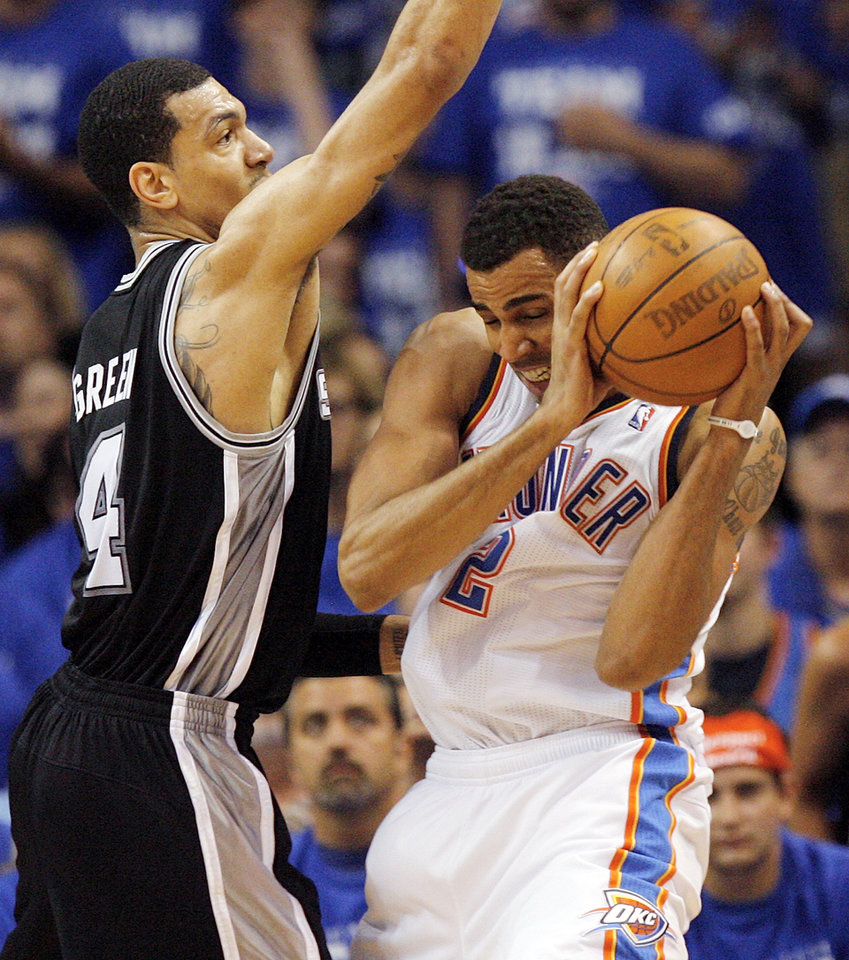 772f9d602cba ... defends Oklahoma City s Thabo Sefolosha (2) during Game 4 of the  Western Conference Finals between the Oklahoma City Thunder and the San  Antonio Spurs ...