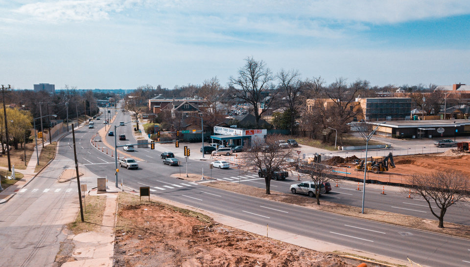 Photo - Streetlights were put back in service this week at the NW 16 and Classen intersection, where a bicyclist was struck by a car and fatally injured early on March 21. [The Oklahoman Archive]