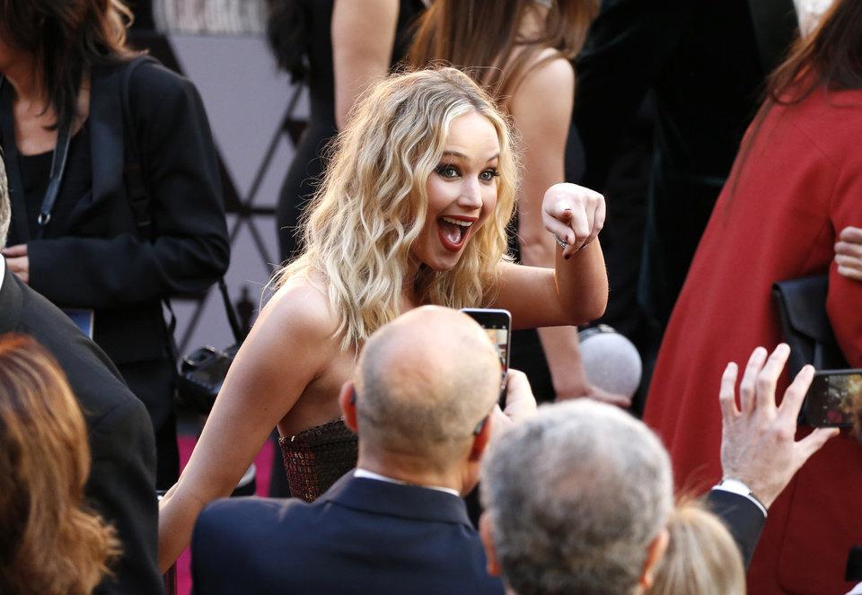 Photo - Jennifer Lawrence arrives at the Oscars on Sunday, March 4, 2018, at the Dolby Theatre in Los Angeles. (Photo by Eric Jamison/Invision/AP)