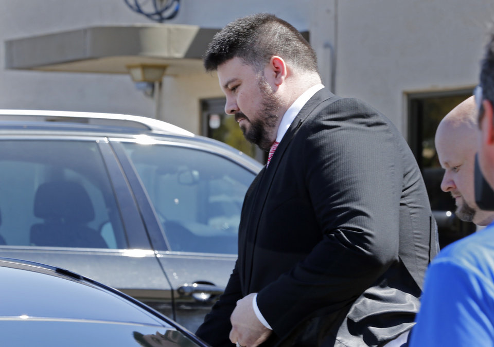 Photo - Former Oklahoma State Senator Ralph Shortey leaves the courthouse following his arraignment in Cleveland County on Friday, March 24, 2017 in Norman, Okla.  Photo by Steve Sisney, The Oklahoman
