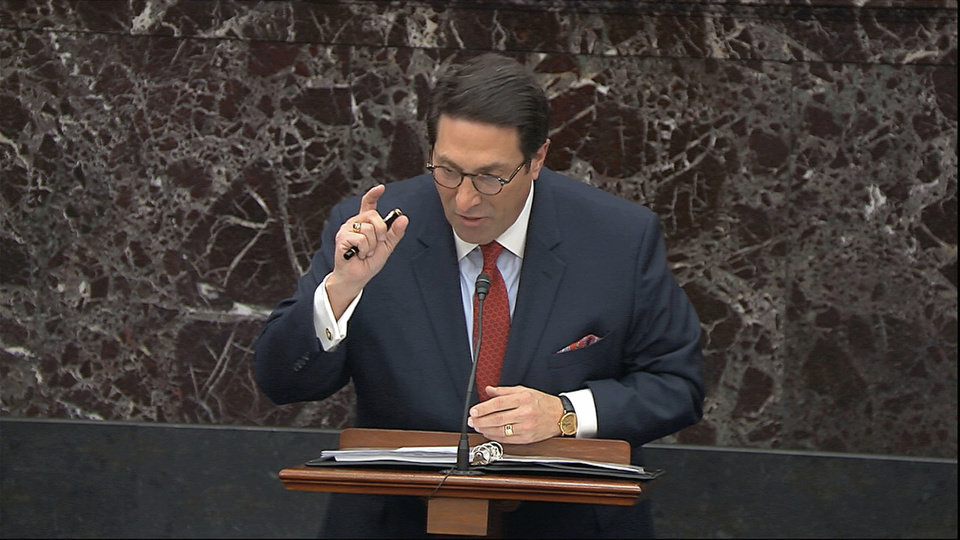 Photo -  In this image from video, personal attorney to President Donald Trump, Jay Sekulow, speaks during the president's impeachment trial Monday in Washington. [Senate Television via The Associated Press]