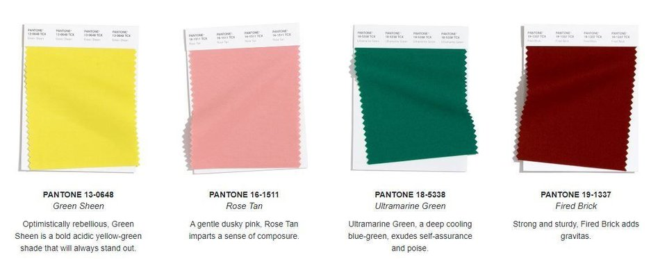 Photo - Pantone Color Institutes color forecast for autumn/winter 2020/2021.