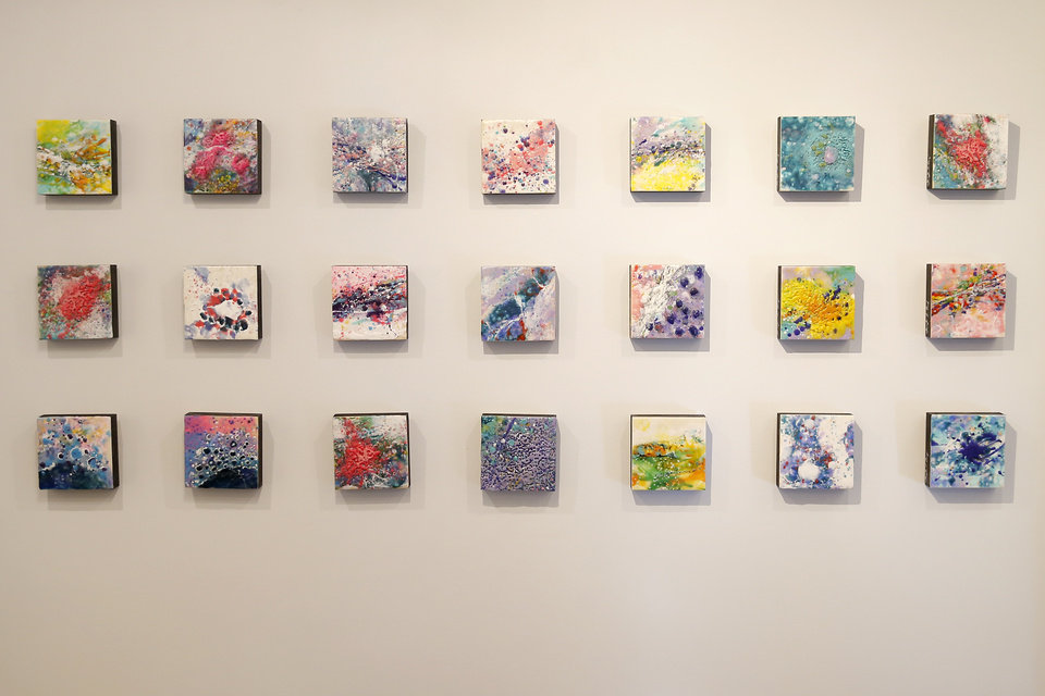 Photo -  Oklahoma City artist Gayle Curry named several of the smaller paintings in her exhibit