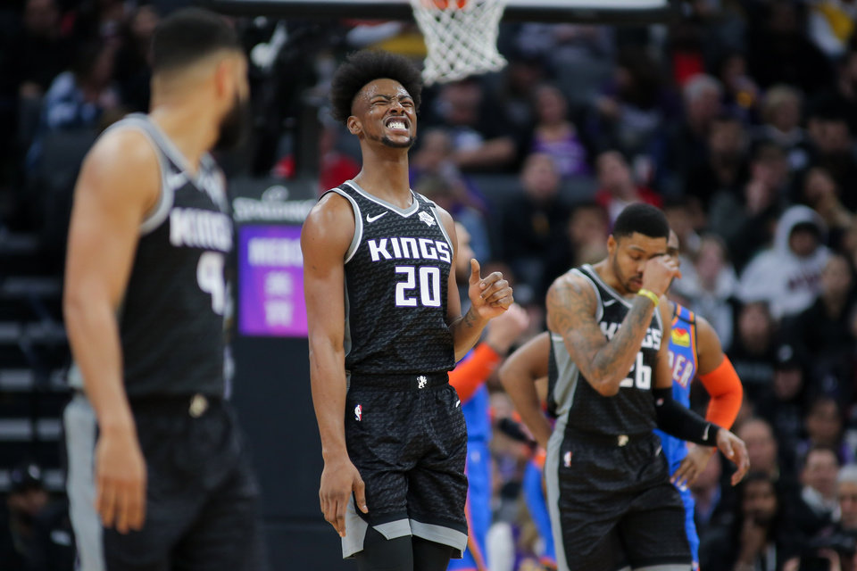 Photo - Jan 29, 2020; Sacramento, California, USA; Sacramento Kings forward Harry Giles III (20) reacts during the second quarter against the Oklahoma City Thunder at Golden 1 Center. Mandatory Credit: Sergio Estrada-USA TODAY Sports