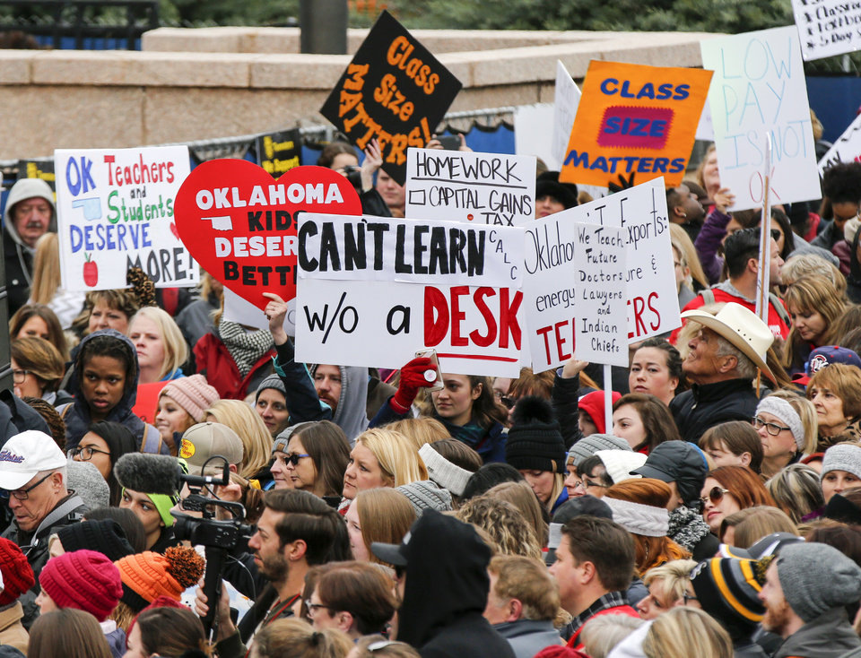 Photo - View of the crowd during a rally and walkout by Oklahoma teachers at the state Capitol in Oklahoma City, Monday, April 2, 2018. Photo by Nate Billings, The Oklahoman