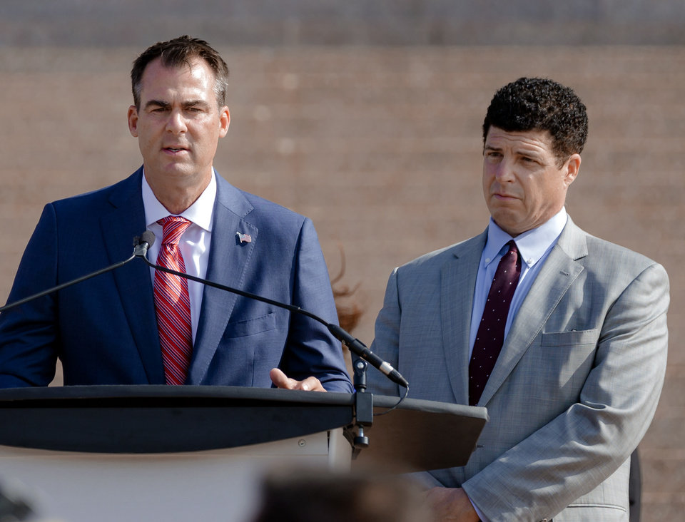 Photo - Gov. Kevin Stitt and Skydweller Aero CEO, Dr. Robert Miller speak during a press conference to announce that aerospace company Skydweller Aero will establishing its headquarters in Oklahoma at the Oklahoma State Capitol on Tuesday, June 30, 2020, in Oklahoma City, Okla. [Chris Landsberger/The Oklahoman]