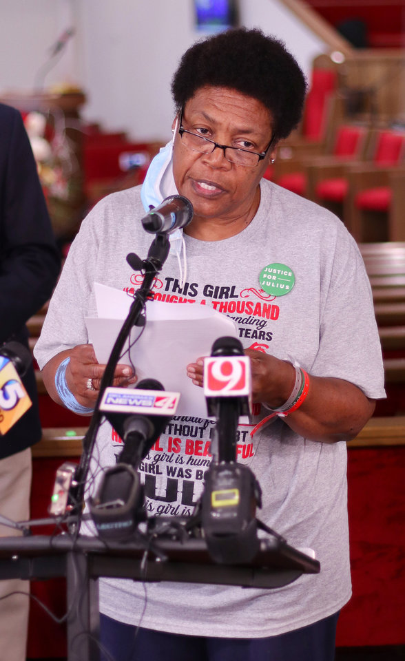 Photo - Madeline Davis Jones, mother of Julius Jones, speaks at a press conference for the NAACP, ACLU and the mother of Julius Jones responding to Oklahoma Attorney General Mike Hunter's press conference earlier in the day at Ebenezer Baptist Church, Monday, July 6, 2020. [Doug Hoke/The Oklahoman]