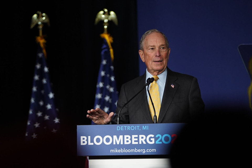 Photo -  Democratic presidential candidate Mike Bloomberg speaks to a crowd at The Eastern in Detroit on Tuesday, February 4, 2020.