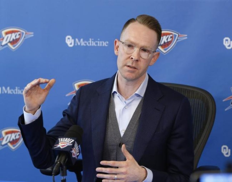 Photo -  Oklahoma City Thunder general manager Sam Presti met with media early Friday  morning to discuss first-round draft  pick Darius Bazley and the team going forward. [Jim Beckel/The Oklahoman]