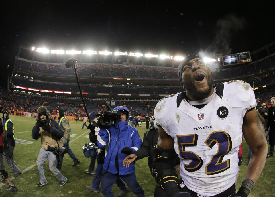 Photo -  Baltimore Ravens inside linebacker Ray Lewis (52) celebrates after the Ravens beat the Denver Broncos 38-35 in overtime of an AFC divisional playoff NFL football game, Saturday, Jan. 12, 2013, in Denver. (AP Photo/Charlie Riedel)