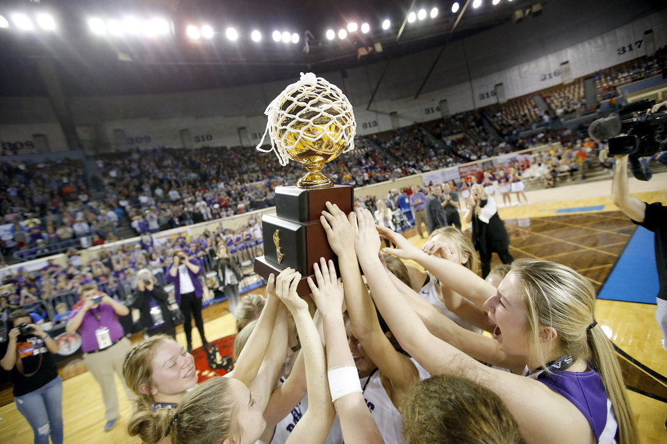 "Photo - Hydro-Eakly celebrates the Class A girls state title over Canute inside Jim Norick Arena, ""The Big House,"" at the OKC Fairgrounds in Oklahoma City,  Saturday, March 7, 2020. [Sarah Phipps/The Oklahoman]"