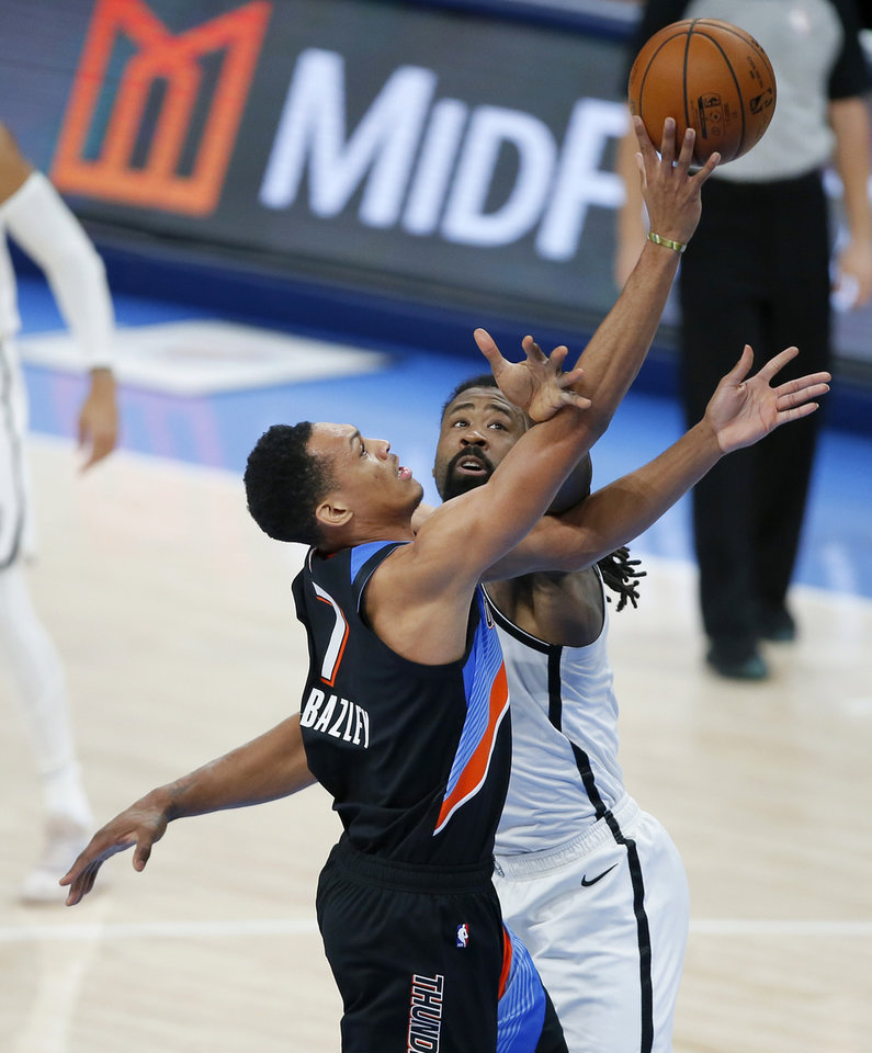 Photo - Oklahoma City's Darius Bazley (7) puts up a shot as Brooklyn's DeAndre Jordan (6) defends during an NBA basketball game between the Oklahoma City Thunder and the Brooklyn Nets at Chesapeake Energy Arena in Oklahoma City, Friday, Jan. 29, 2021. [Bryan Terry/The Oklahoman]