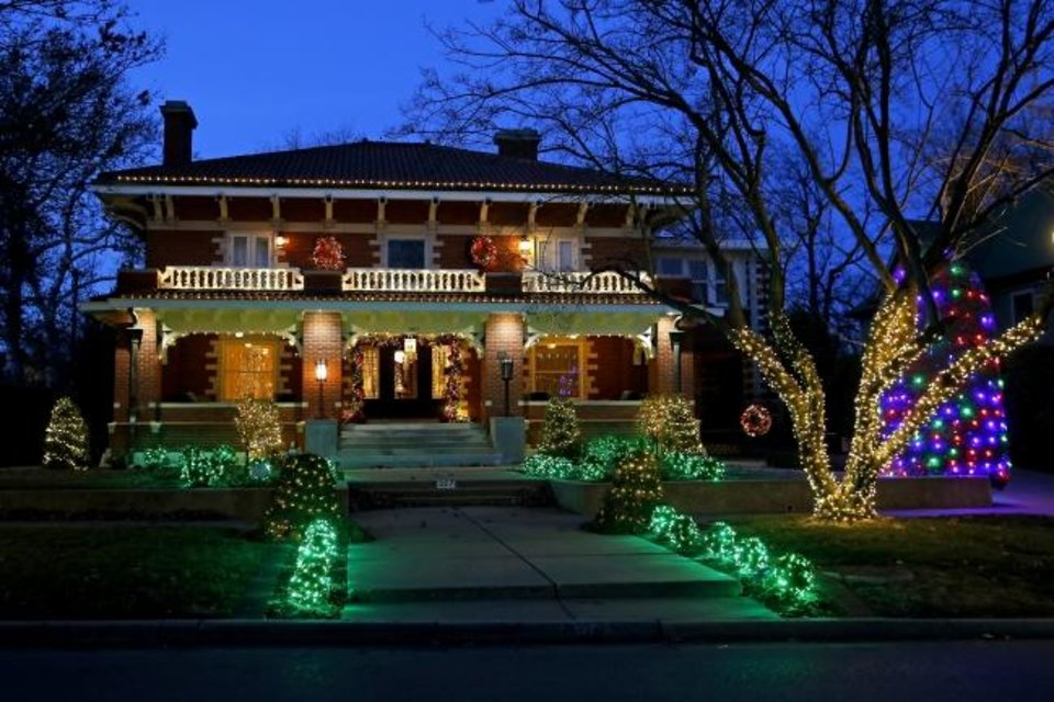 Photo -  Christmas lights on a home at 327 NW 14. [BRYAN TERRY/THE OKLAHOMAN]
