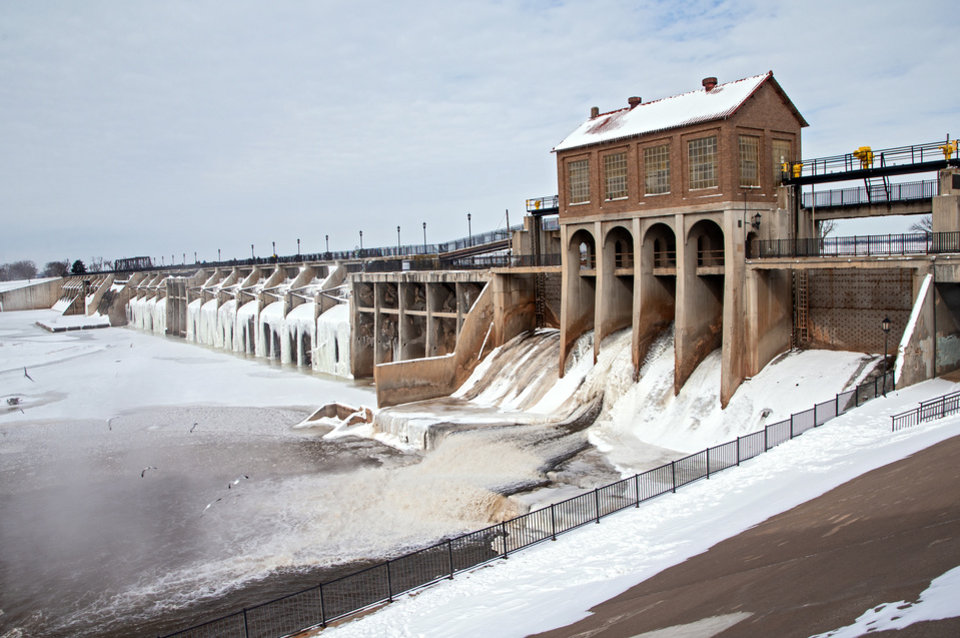 Photo - Ice covers the Lake Overholser dam in Oklahoma City, Okla. on Tuesday, Feb. 16, 2021.  [Chris Landsberger/The Oklahoman]