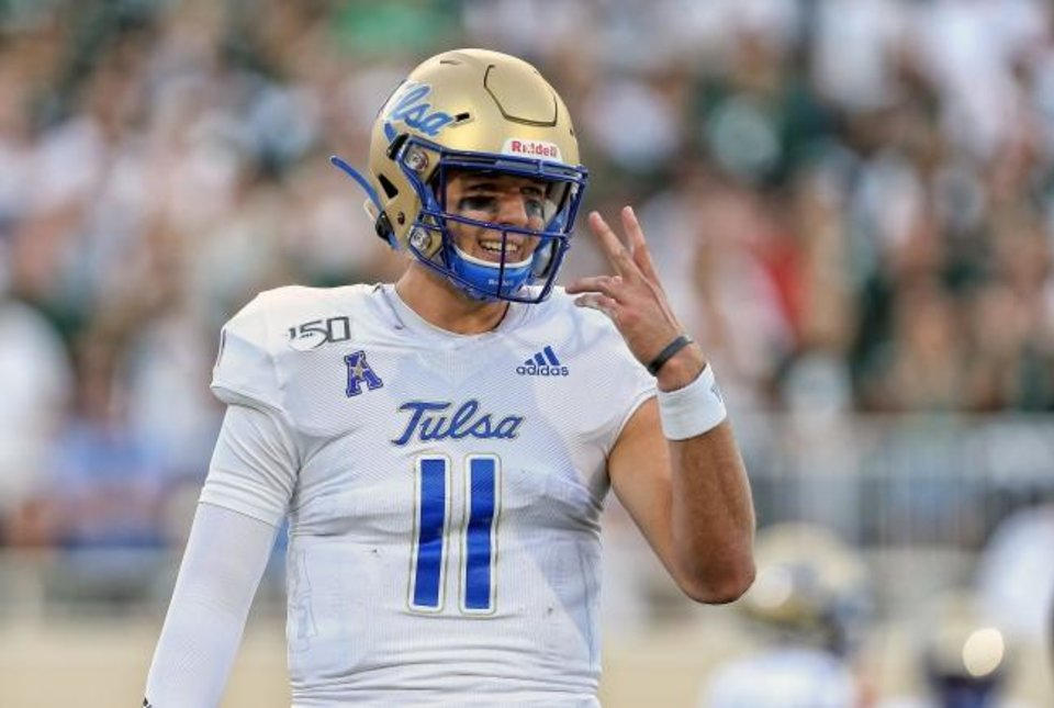 Photo -  Tulsa quarterback Zach Smith threw for 3,279 yards and 19 touchdowns in 2019 in his first season being eligible to play after transferring from Baylor. [Mike Carter/USA TODAY Sports]